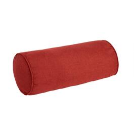 Solid Red Woven Indoor/Outdoor Lumbar Roll Pillow