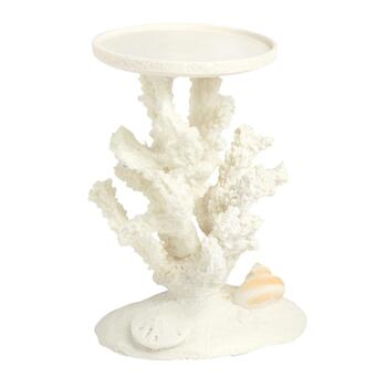 Ceramic Coral and Shells Pillar Candle Holder