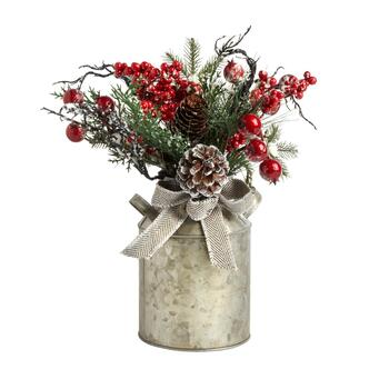 "&The Grainhouse™ 13"" Pinecones and Berries Milk Can Decor"