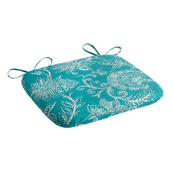 Turquoise Floral Jacquard Squared Seat Pad view 1
