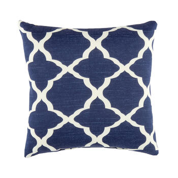 Blue Fretwork Square Throw Pillow view 1