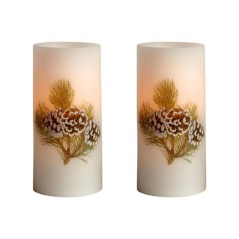 Glittery Pinecones LED Pillar Candles, Set of 2