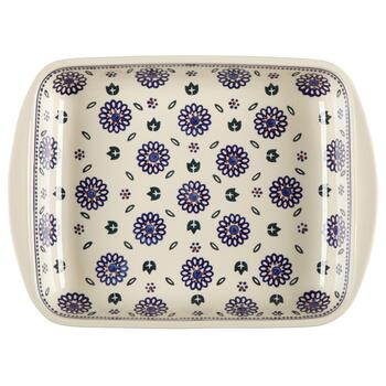 Polish Pottery Geometric Flowers Rectangular Serving Tray view 2