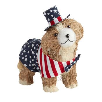 Tan Stars and Stripes Bowtie Sisal Dog Decor