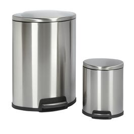 13-Gall./ 2.5-Gall. Stainless Steel Trash Can Set
