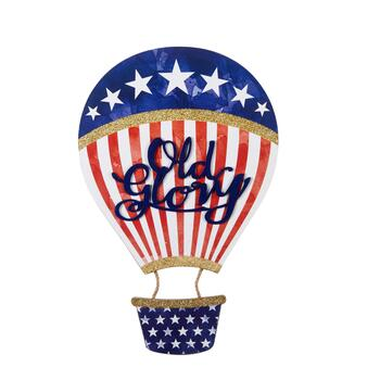 "18"" ""Old Glory"" Hot Air Balloon Wood Wall Decor"