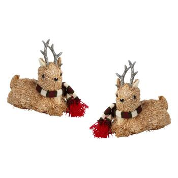 "8"" Sitting Deer with Burgundy Scarf, Set of 2"