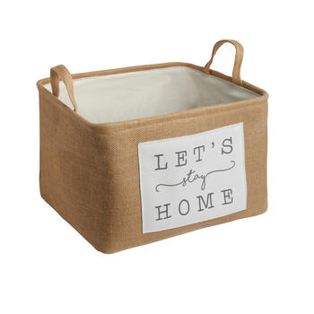 "The Grainhouse™ ""Let's Stay Home"" Burlap Storage Basket view 1"