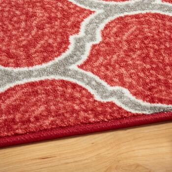 5'x7' Red Frette Area Rug view 2