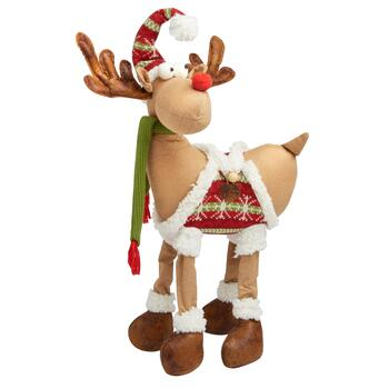 "19"" Standing Reindeer Decor with Green Striped Hat"