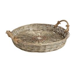 The Grainhouse™ Round Woven Willow Tray with Rope Handles