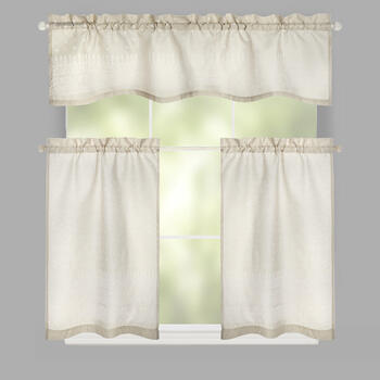 Eden Puff Beige Window Tier & Valance Set view 1