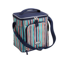Navy Thin Stripe 18-Can Cooler with Strap view 1