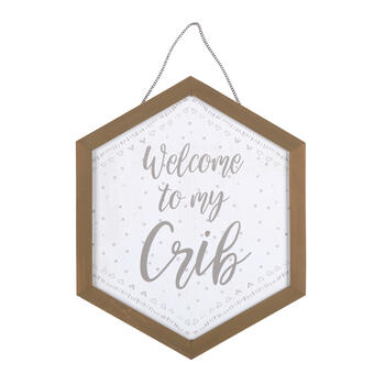 "17""x21"" ""Welcome to My Crib"" Wood Wall Decor view 1"