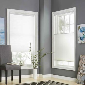 White Top Down/Bottom Up Cordless Fabric Window Shade view 2