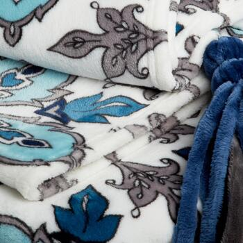 Evolution™ Blue/Gray Floral Tassel Throw Blanket view 2