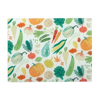 "12""x15"" Vegetable Medley Glass Cutting Boards, Set of 2"
