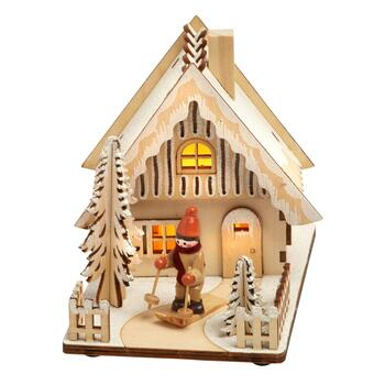 "6"" Wooden Lighted Skier's Chalet Decor"