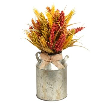 "15"" Dark Coral/Green/Beige Artificial Flowers Metal Milk Can"