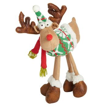 "11"" Standing Reindeer with Green Snowflake Sweater"