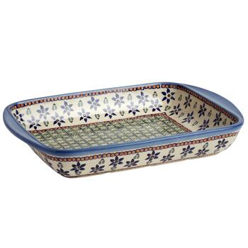 Polish Pottery Ferns and Flowers Rectangular Serving Tray