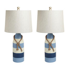 "23"" Blue/White Stripe Buoy Table Lamps, Set of 2 view 1"