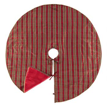 Red/Gold Shimmer Tartan Christmas Tree Skirt