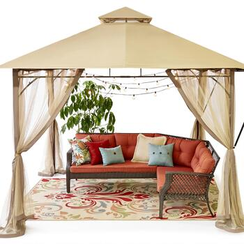 Carly Resin Wick Sectional & Gazebo