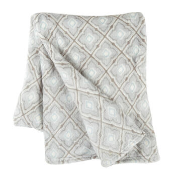 Gray Moroccan Pattern Velvety Throw view 1