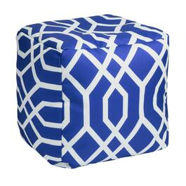 Blue Geometric Indoor/Outdoor Square Ottoman