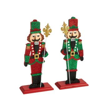 "11.75"" Glitter Nutcracker Sitters, Set of 2"