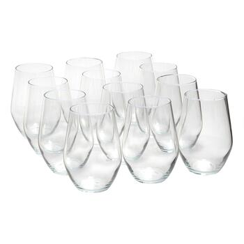 Concerto Stemless Wine Glasses, Set of 12