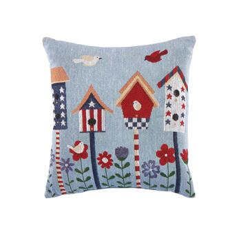 Red, White and Blue Birdhouses Square Throw Pillow