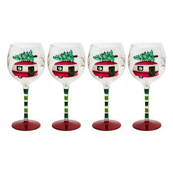 16-oz. Holiday Camper Van Wine Glasses, Set of 4