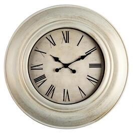 "30"" White/Gold Roman Numeral Round Wall Clock"