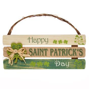 1525 Happy Saint Patricks Day Slatted Wood Sign Christmas