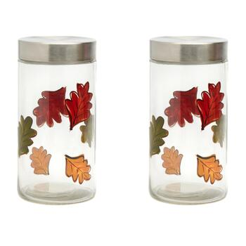 "9"" Handpainted Glass Leaf Canisters, Set of 2"