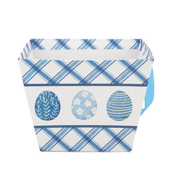 Blue & White Printed Easter Egg Bucket view 1