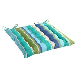 Green/Blue Striped Indoor/Outdoor Tufted Square Seat Pad