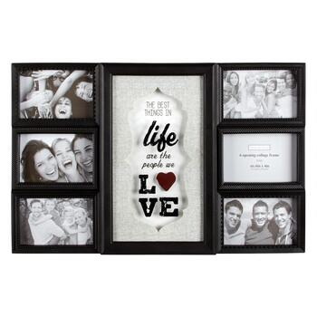 """The Best Things in Life"" 6-Opening 3D Glass Photo Frame Wall Collage"