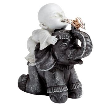 Buddha and Elephant Garden Decor Statue