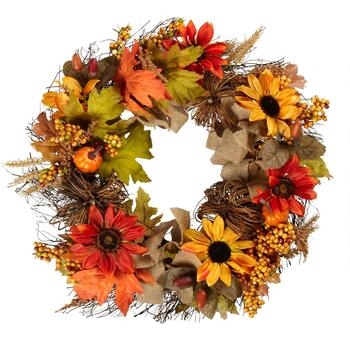 "22"" Mini Pumpkin Sunflower Wreath"