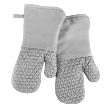 Gray Silicone Oven Mitts, Set of 2