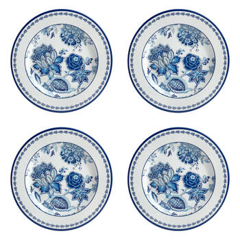 Waverly® Turquoise Floral Melamine Dinner Plates, Set of 4 view 1