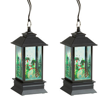 "7"" Glitter Snowman LED Lanterns, Set of 2 view 1"