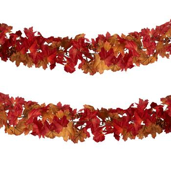6' Red/Brown Chain Leaf Fall Garlands, Set of 2