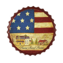 "13.75"" ""Home Sweet Home"" Flag Metal Bottle Cap Wall Hanger view 1"