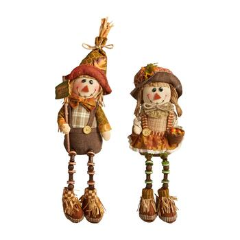 "15"" Scarecrow Sitters with Dangling Wood Legs, Set of 2"