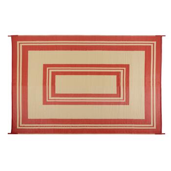 6'x9' Red Stripe Border Reversible All-Weather Patio Mat
