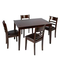 Chocolate Inlay Top Dining Table and Chairs Set, 5-Piece